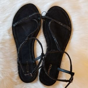 Express Black Strap Sandals Rhinestones New